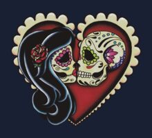 Ashes - Day of the Dead Couple - Sugar Skull Lovers One Piece - Short Sleeve