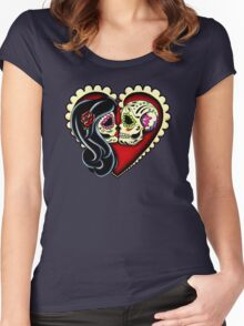 Ashes - Day of the Dead Couple - Sugar Skull Lovers Women's Fitted Scoop T-Shirt