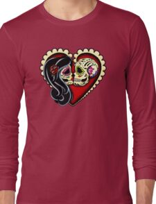Ashes - Valentine's Day of the Dead Couple - Sugar Skull Lovers Long Sleeve T-Shirt