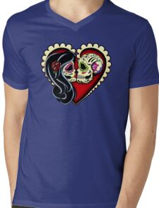 Ashes - Day of the Dead Couple - Sugar Skull Lovers Mens V-Neck T-Shirt