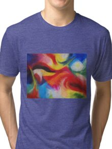 """Fiesta Nocturna"" original abstract landscape by Laura Tozer Tri-blend T-Shirt"