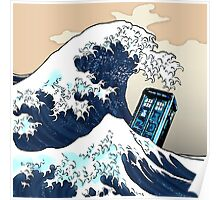 Space And Time traveller Box Vs The great wave Poster