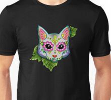 Day of the Dead Cat in Grey Sugar Skull Kitty Unisex T-Shirt