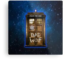 Old Rustic wood Phone box with Bad Wolf typograph Metal Print