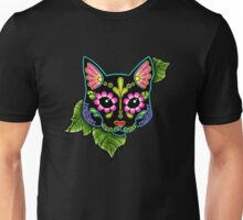 Day of the Dead Cat in Black Sugar Skull Kitty Unisex T-Shirt