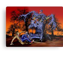 Weird Cursed British blue Phone box Monster Metal Print