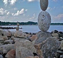 Rock Sculptures Facing Narragansett Beach  by Jack McCabe