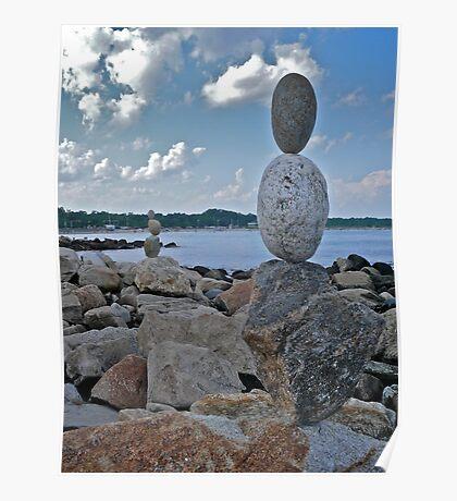 Rock Sculptures Facing Narragansett Beach  Poster