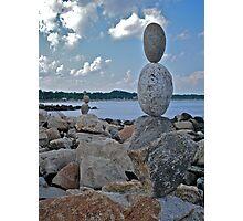Rock Sculptures Facing Narragansett Beach  Photographic Print