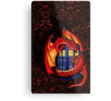 Blue phone box with Smaug The Red wyvern dragon Metal Print