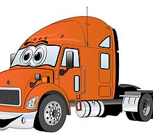 Semi Truck Orange Cartoon by Graphxpro