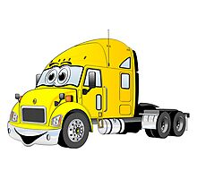 Semi Truck Yellow Cartoon Photographic Print