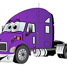 Semi Truck Purple Cartoon by Graphxpro