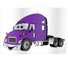 Semi Truck Purple Cartoon Poster