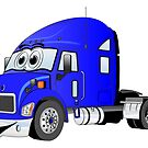 Semi Truck Blue Cartoon by Graphxpro