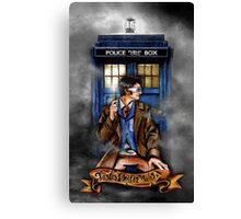 Mysterious Time traveller with blue Phone box Canvas Print
