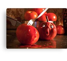 TOMATO FUNNY FOOD CRIME MURDER  Canvas Print