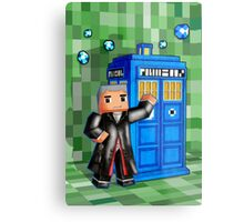 8bit 12th Doctor with blue phone box Metal Print