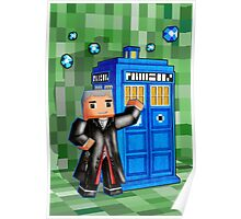 8bit 12th Doctor with blue phone box Poster