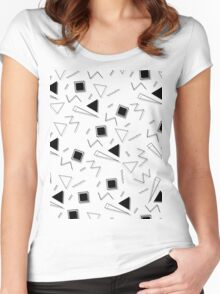 Retro Shapes Pattern Women's Fitted Scoop T-Shirt