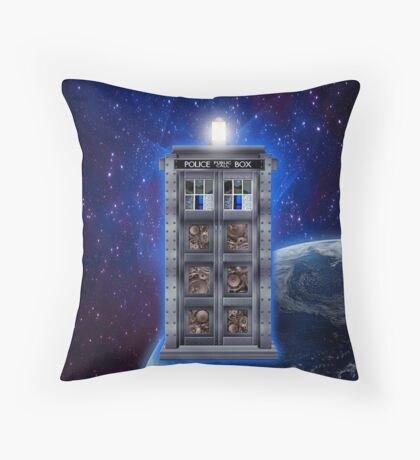 Time and Space travel Steampunk machine Throw Pillow