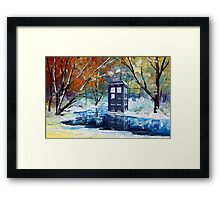 Snowy Blue phone box at winter zone Framed Print
