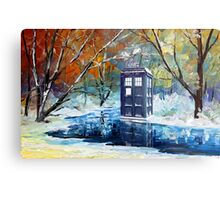 Snowy Blue phone box at winter zone Metal Print