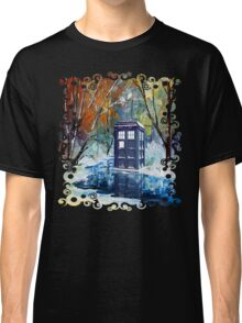 Snowy Blue phone box at winter zone Classic T-Shirt