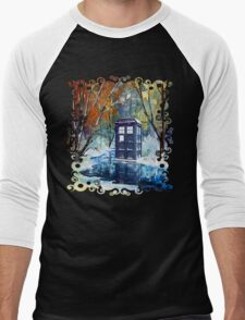 Snowy Blue phone box at winter zone Men's Baseball ¾ T-Shirt