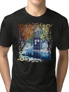 Snowy Blue phone box at winter zone Tri-blend T-Shirt