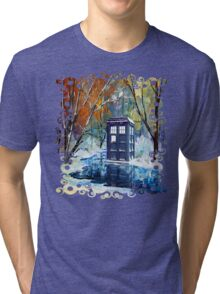 Snowy Blue phone box at winter zone Tri-blend T-Shirt