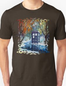 Snowy Blue phone box at winter zone T-Shirt