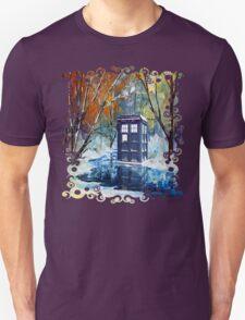 Snowy Blue phone box at winter zone Unisex T-Shirt