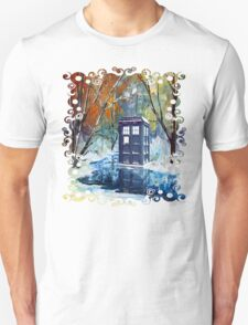 Snowy Blue phone box at winter zone T-Shirt
