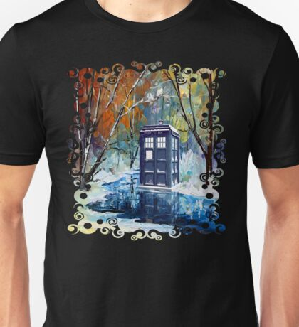 Snowy Blue phone box at winter zone Unisex T-Shirt