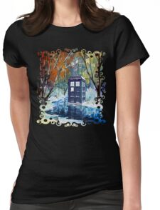Snowy Blue phone box at winter zone Womens Fitted T-Shirt