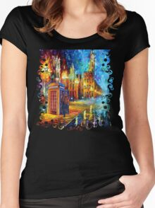 Sherlock Phone booth and Big ben art painting Women's Fitted Scoop T-Shirt