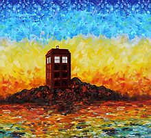 Time travel Phone booth in the Twilight zone art painting by Arief Rahman Hakeem