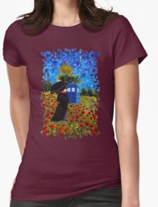 Umbrella girl with space and time traveller box art painting Womens Fitted T-Shirt