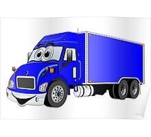 Container Truck Blue Cartoon Poster