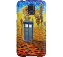 Blue phone booth at fall grass field painting Samsung Galaxy Case/Skin