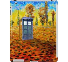 Blue phone booth at fall grass field painting iPad Case/Skin