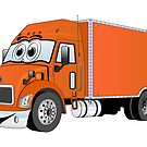 Container Truck Orange Cartoon by Graphxpro