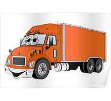 Container Truck Orange Cartoon Poster