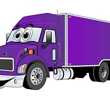 Container Truck Purple Cartoon by Graphxpro
