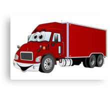 Container Truck Red Cartoon Canvas Print