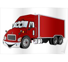 Container Truck Red Cartoon Poster