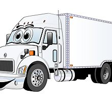 Container Truck White Cartoon by Graphxpro