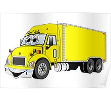 Container Truck Yellow Cartoon Poster