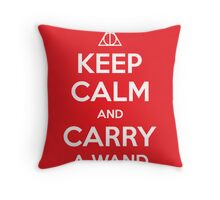 Keep Calm and Carry a Wand Throw Pillow